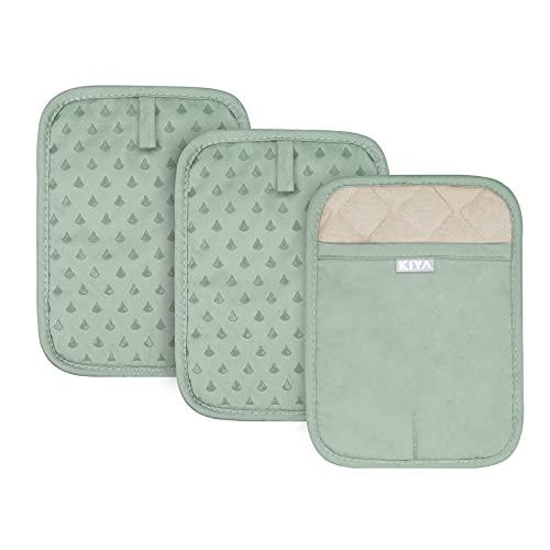 KIYA Topflappen 3er Set, 100% Baumwolle mit Tasche und Silikon Streifen, Hitzebeständig Topfuntersetzer rutschfest Ofenhandschuhe für Küche, Kochen, Backen,BBQ - (Grün)