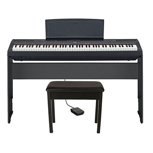 Yamaha P125B HHB17 Holiday Home Bundle (Includes) Yamaha P115B 88-Key Digital Keyboard Piano in Matt Finish Black with Yamaha L85 Wood Digital Piano Stand and Yamaha BB1 Padded Wooden Piano Bench