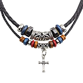 MORE FUN Vintage Style Double Layers Black Braided Leather Tribal Necklace with Charm Cross Pendant Cross