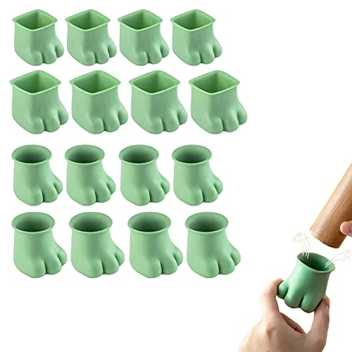 Chair Leg Floor Protectors,16pcs Square/Round Cat Paws Silicone Chair Leg Caps, Chair Table Feet Covers for Hardwood Floor (A)