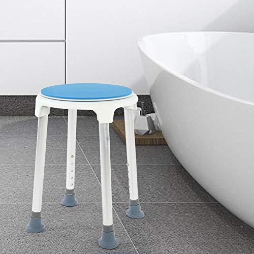 Oumefar Runder Duschhocker aus Aluminium mit waschbarem Kissen 360 Grad drehbarer Duschstuhl für Senioren