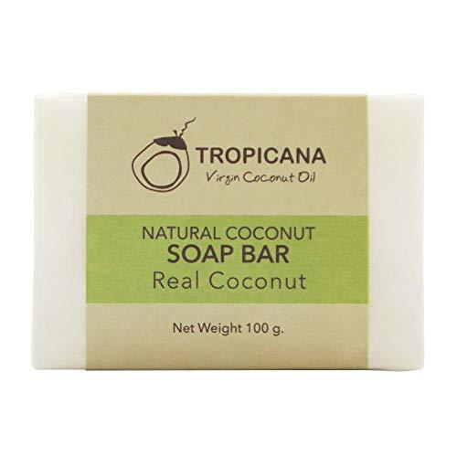 Tropicana Oil - Jabón de coco natural orgánico, 2 x 100 g, aceite de coco orgánico prensado en frío, cuidado hidratante y vegano, producto natural desintoxicado a mano, sin perfume ni aceite de palma