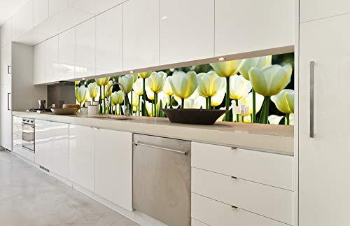 DIMEX LINE Küchenrückwand Folie selbstklebend WEIßE TULPEN | Klebefolie - Dekofolie - Spritzschutz für Küche | Premium QUALITÄT - Made in EU | 350 cm x 60 cm