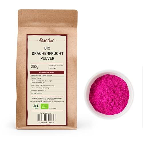 250g di pitaya polvere BIO - polvere di pitaya pink, frutta del drago liofilizzata e senza additivi - in confezione biodegradabile