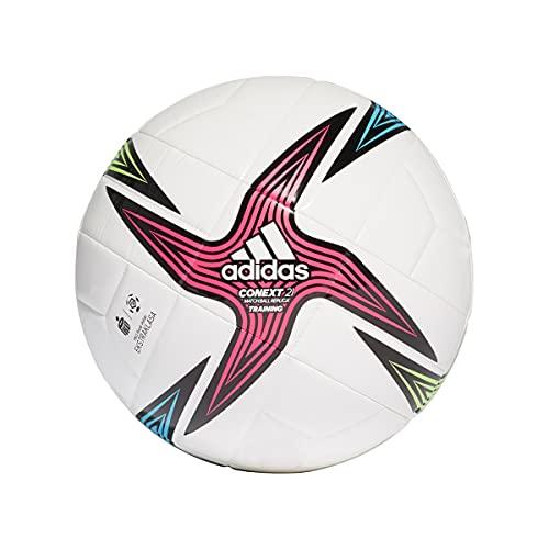 Adidas GU1549 EKSTRAKLASA TRN Recreational Soccer Ball Mens Top:White/Black/Shock Pink/Signal Green Bottom:Bright Cyan/Iron Met. 5