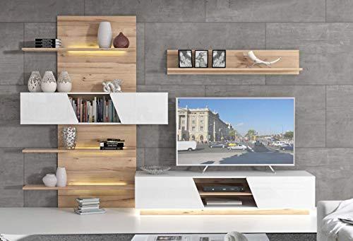 Forte Möbel Wohnzimmerschrank HULON Moderne Wohnwand Optik: Planked Eiche