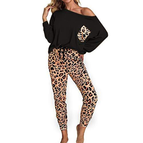 2Pcs Women Lounge Sets Leopard/Tie-Dye Suit Casual Long Sleeve Pullover Tops Drawstring Sweatpants with Pockets (Black, L)