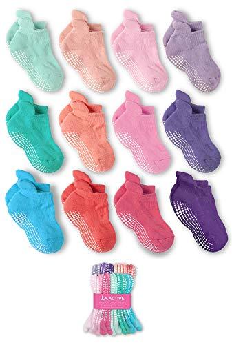 LA Active Socken - 12 Paar - Baby Kleinkind Säugling Neugeborenes - Anti Rutsch/Rutschfest Grip Knöchelsocken (Mädchen, 4-7 Jahre)