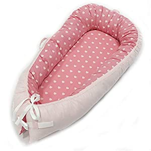 Abreeze Baby Bassinet for Bed -Heart Design Baby Lounger – Breathable & Hypoallergenic Co-Sleeping Baby Bed – 100% Cotton Portable Crib for Bedroom/Travel