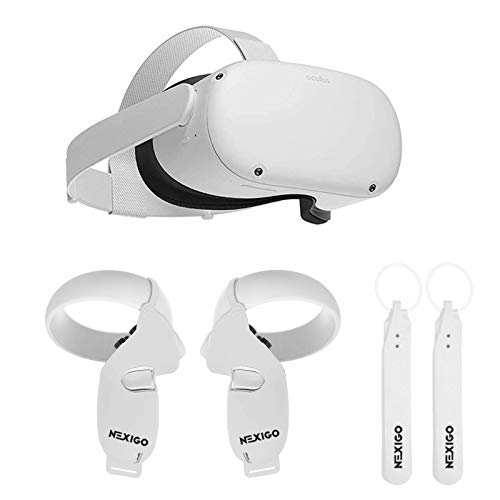 Oculus 2020 Newest Quest 2 VR Headset 64GB Holiday Bundle, Advanced All-in-One Virtual Reality Gaming Headset, NexiGo Controller Grip Cover White + Knuckle Strap White Accessory Bundle