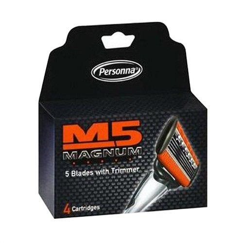 Personna M5 Magnum las hojas de afeitar con corta, 24 cartuchos - 6 bultos de 4 Cartuchos para un total de 24 cartuchos (Paquete de 6)