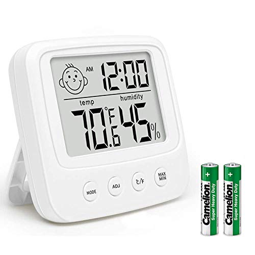 RAWAHOME デジタル時計 タイマー 温湿度計 お風呂時計 温度計 湿度計 熱中症 粘着可 壁掛け 卓上置き 浴室 バス 洗面所 キッチン 中庭 ルーム シャワー用 (ホワイト)