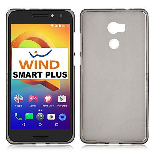 CUSTODIA per WIND SMART PLUS, 5046Y ,ALCATEL ONE TOUCH A3 - 5' POLLICI - IN GEL TPU SILICONE COLORE NERO TRASPARENTE