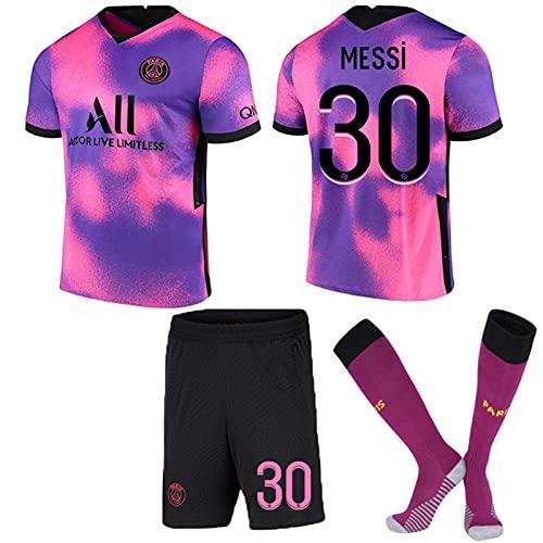 ACJIA 2/3 Piezas Paris Messi- 30# Camiseta De Fútbol, Rosa Y Morado Transpirable Y Conjunto De Entrenamiento De Camiseta De Fútbol Paris Away Messi Soccer Wear, Camiseta PSG 30,B,Kids 26
