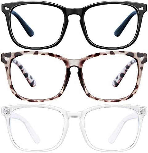 Blue Light Blocking Glasses 3Pack Computer Game Glasses Square Eyeglasses Frame Blue Light Blocker product image