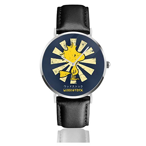 Unisex Business Casual Peanuts Woodstock Retro Japanische Uhren Quarz Leder Armbanduhr mit schwarzem Lederband für Männer Frauen junge Kollektion Geschenk