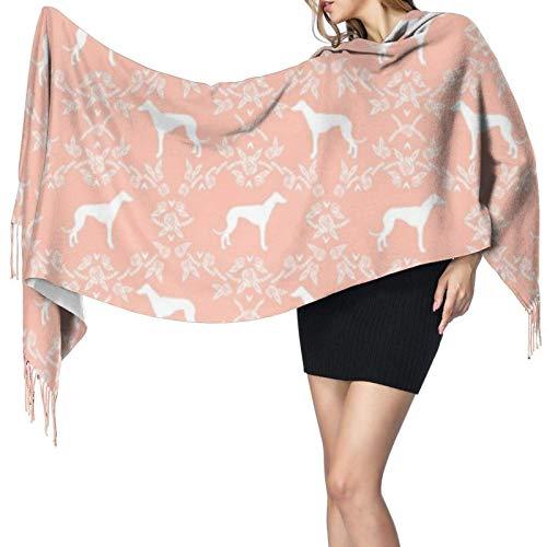 Bufandas de invierno para mujer, largo, suave, cálido, galgo, silueta floral, patrón de perro, melocotón, cachemir, como Pashmina, chales, chales con borlas