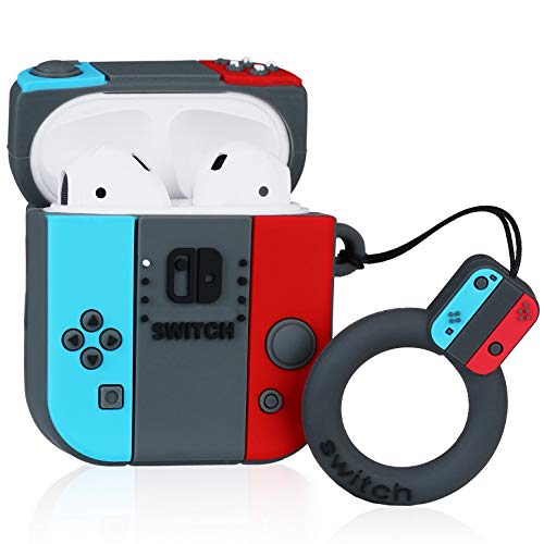 Lupct Game Switch Compatible with Airpods 1/2 Case Silicone, Cute Cartoon 3D Cool Air pods Design Cover, Fun Kawaii Fashion Stylish Funny Cases for Kids Girls Teens Boys Character Skin Keychain Airpod