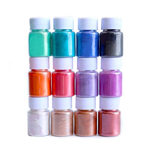 Mica Powder Pigment for Slime Dye Bath Bomb Making Colorants and Soap Mold Making, Good for Makeup and Nails Arts, 12 Colors, Safe for Skin
