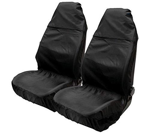 2x Avant Noir Sitzbezüge Housses de protection polyester pour Renault Seat Skoda VW