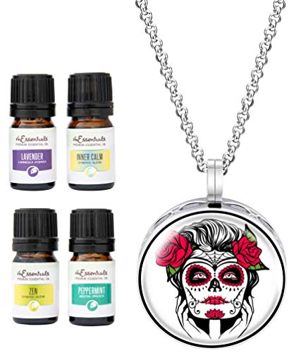 Wild Essentials Sugar Skull Essential Oil Diffuser Necklace Gift Set Includes Aromatherapy Pendant, 24' Stainless Steel Chain, Refill Pads and 100% Pure Oils (Lavender, Peppermint, Inner Calm and Zen)