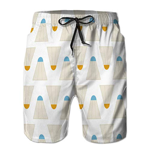 Yuerb Mens Printing Beach Shorts Swim Trunk Quick Dry Flat Seamless Pattern Sport badm
