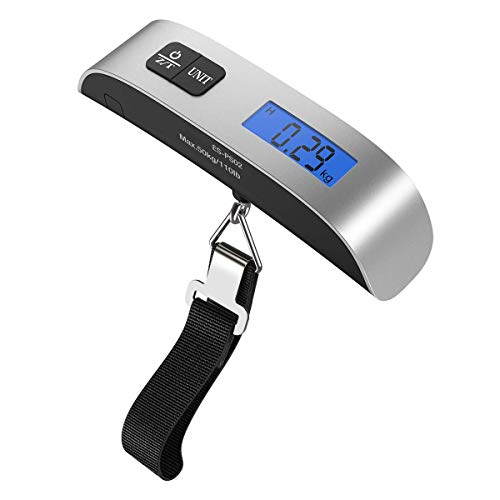 [Backlight LCD Display Luggage Scale]Dr.meter PS02 110lb/50kg Electronic Balance Digital Postal Luggage Hanging Scale with Rubber Paint...