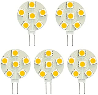 HERO-LED SG4-6T-CW Side Pin G4 LED Disc Halogen Replacement Bulb, 1.2W, 10-15W Equal, Cool White 6000K, 5-Pack(Not Dimmable)