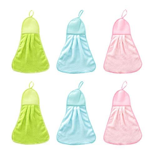 6 toallas de mano para colgar en la pared, toallas de cocina de microfibra de forro polar con práctico lazo para colgar, lavables a máquina, ultra absorbentes, de secado rápido