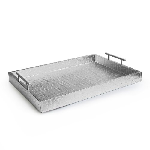 American Atelier Alligator Rectangle Serving Tray with Handles, 14' x 19' x 3', Silver