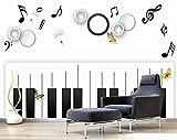 Papel Pintado 3D Tablaturas De Guitarra De Piano De Música Fotomurale 3D Tv Telón De Fondo Pared Decorativos Murales Moderna