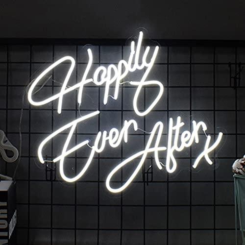 ZREYLLB Happy Ever After Letreros de Neón Luces LED de Neón Lámpara de Noche Decoración Hogareña Alimentado por USB por Habitación Habitación Navidad Cumpleaños Fiesta Regalo...