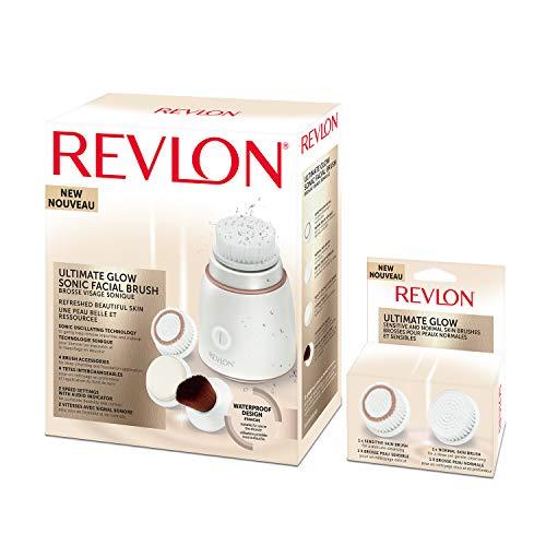 REVLON RVSP3538 Ultimate Glow Brosse Visage Sonique + RVSP3538CB Pinceau à Fond de Teint avec Eponge Beauté de Rechange
