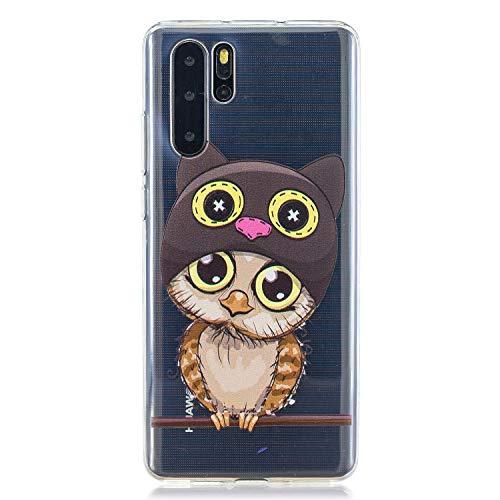 HopMore Funda Silicona para Huawei P30 Pro Transparente Dibujos Bonitos Carcasa Huawei P30 Pro Ultrafina Resistente TPU Blando Kawaii Case Antigolpes Caso Protección Cover - Eule