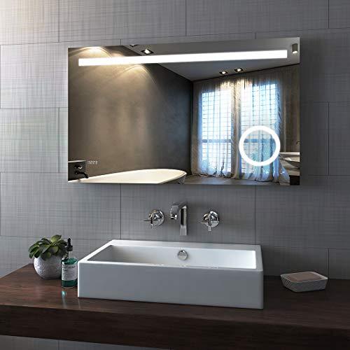 Bath-mann LED-wandspiegel, badkamerspiegel, lichtspiegel, wandspiegel met touch-schakelaar, IP44, energiebesparend - koudwit 100 x 60 cm (Sensor+Uhr+Vergrößerung) Type20