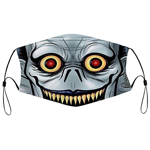 asdew987 Máscaras faciales Death Note | Máscaras reutilizables de tela de algodón lavable