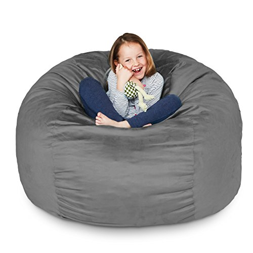 Lumaland Luxury 3-Foot Bean Bag Chair with Microsuede Cover Dark Grey, Machine Washable Big Size Sofa and Giant Lounger Furniture for Kids, Teens and Adults
