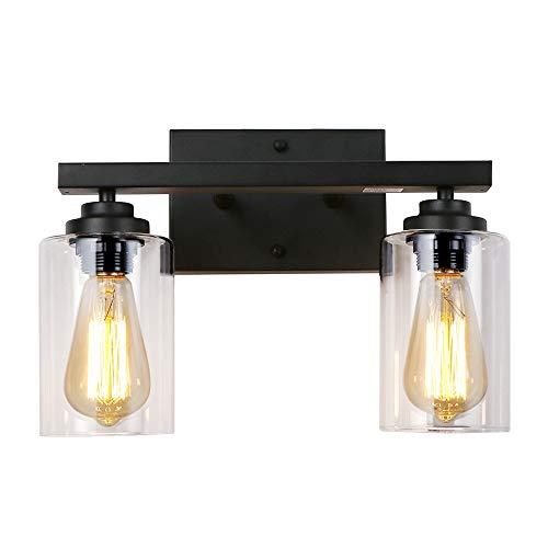 LynPon 2-Licht Wandleuchte Schwarz Industrial Vintage, Wandlampe Glas, Metallbasis Wand Leuchte, Rustikal Eisen Beleuchtung für Schlafzimmer Badezimmer Wohnzimmer Loft Waschtisch