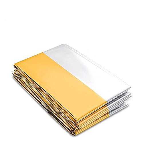 Premium Rettungsdecke   Extra Große Rettungsfolie für Erste Hilfe   6 und 10 und 20 Stück   Gold/Silber   210 x 160 cm   Kälteschutz   Hitzeschutz   Feuchtigkeitsbeständig Emergency Blanket