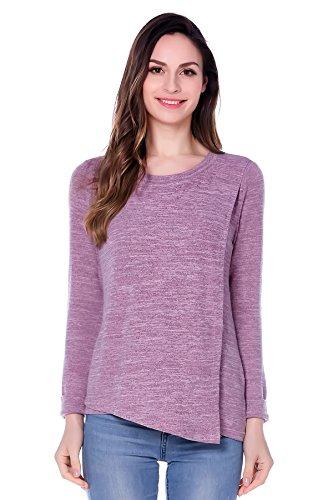 Bearsland Camiseta de lactancia y maternidad para mujer, para otoño, de manga larga rosa rosa Large