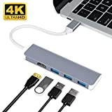USB-C Hub, Type-C Adapter To HDMI,3 USB 3.0, Portable Aluminum USB C Dongle For MacBook Pro 2018/2017/2016 Chromebook Pixel, DELL XPS13 (Space Grey)