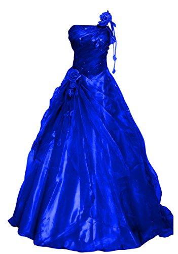 Romantic-Fashion Damen Ballkleid Abendkleid Brautkleid Lang Modell E234 A-Linie Blüten Perlen Pailletten DE Blau Größe 48
