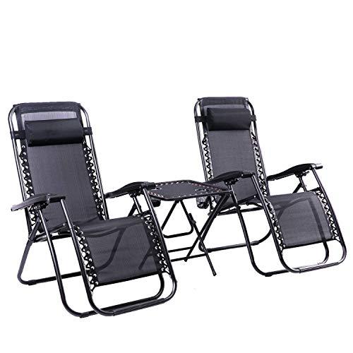 Leisure Zone 2 x Textoline Gartenstuhl Zero Gravity Stühle mit Tisch Strand Sonnenliege klappbar & liegend Sonnenliege Liegestühle Wetterfest Textoline (Stuhl mit Tisch)