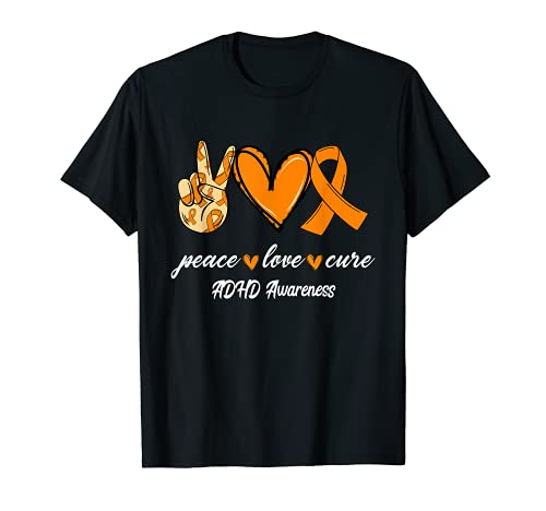 Peace Love Hope オレンジリボン ADHD Awareness Tシャツ
