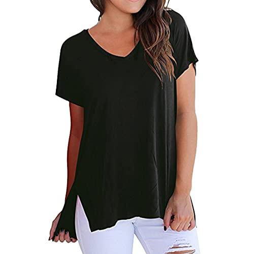 DOLAA Camisas de Mujer Camiseta Tops de Manga Corta Camiseta de Color sólido con Cuello en V Dobladillo Largo Tops de Verano Casuales básica Camiseta Tops de Manga Corta Blusa de Moda de Color sólido