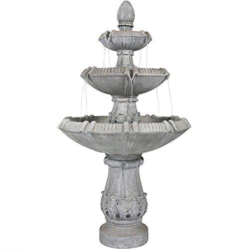 Sunnydaze 3-Tier Gothic Finial Outdoor Garden Water Fountain, 73 Inch Tall