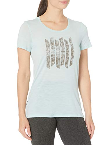 Icebreaker Tech Lite Crewe Rising Sun - Camiseta de Manga Corta para Mujer, Tech Lite T-Shirt W/Graphic, Nueva Zelanda Merino Lana, Mujer, Color Sin Sonido/rocío, tamaño Extra-Small