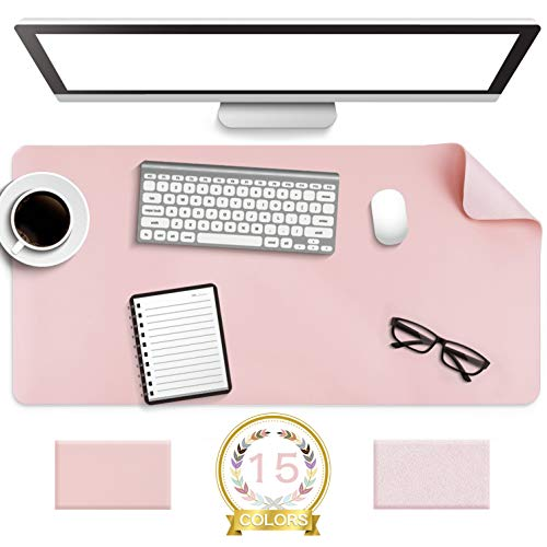 """Non-Slip Desk Pad,Mouse Pad,Waterproof PVC Leather Desk Table Protector,Ultra Thin Large Desk Blotter, Easy Clean Laptop Desk Writing Mat for Office Work/Home/Decor(Pink, 31.5"""" x 15.7"""")"""