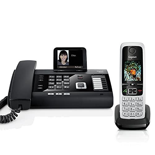 Gigaset DL500A und C430HX -Schnurgebundenes DECT Telefon mit zusätzlichem Mobilteil - Kombi-Set - ideal für\'s Homeoffice - Farbdisplay - großes Adressbuch - Freisprechfunktion, schwarz/schwarz-silber
