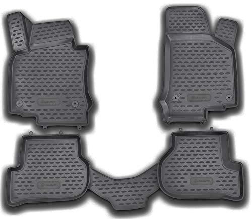 Element EXP.NLC.3D.51.26.210kh Passgenaue Gummimatten Fußmatten für VW Golf VI Mk6/ Jetta V MK5/ Scirocco III/Seat Leon II 2009-2014, Schwarz, Passform